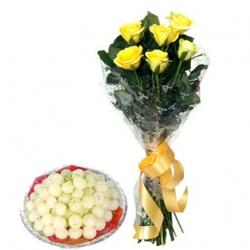 Yellow Roses N Rasgulla