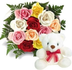 12 Mix Color Roses & Teddy