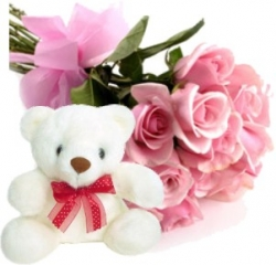 Pink Roses with Teddy