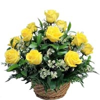 10 Yellow Rose Basket