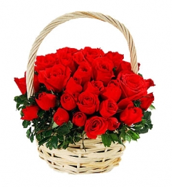 Romantic 36 Red Rose Basket