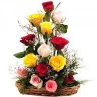 12 Mix Roses Basket