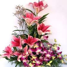 Graceful Purple Orchids Liliums Basket