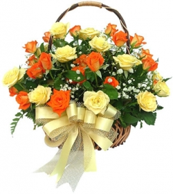 Basket of 24 orange and yellow roses