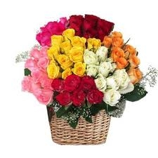 100  Multi Color Roses Basket