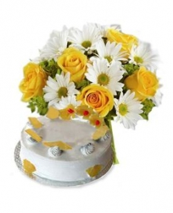 Pineapple Cake and Flowers Bunch