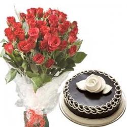 Chocolate Passion 40 Roses & Chocolate Cake