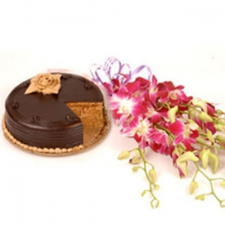 Sweet Impression 6 Orchids Stem with Half Kg Chocolate Cake