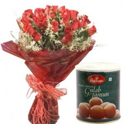 Happy Sentiments 20 Roses & Gulab Jamun