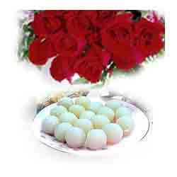 Sweet Way 12 Roses & Rasgulla