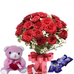 Sweetie N Cutie 10 Roses Teddy with Chocolates