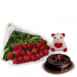 Anniversary Special 20 Roses Chocolate Truffle Cake and Teddy
