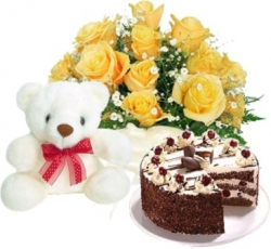 True Passion 10 Yellow Roses, 6 Inches Teddy & 1/2 Kg Black Forest Cake