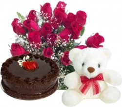 Heartful wishes 10 Red Roses, 6 Inches Teddy & 1/2 Kg Chocolate Cake