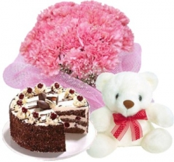10 Pinky Carnations Teddy &  1/2 Kg Black Forest Cake