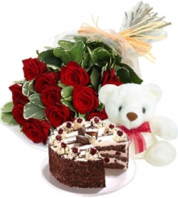 Love 10 Roses Teddy & Cake