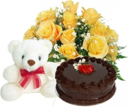 Yellow Desire 12 Roses Teddy & 1/2 Kg Chocolate Cake