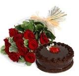 Birthday Wishes 10 Roses  1/2kg Chocolate Cake